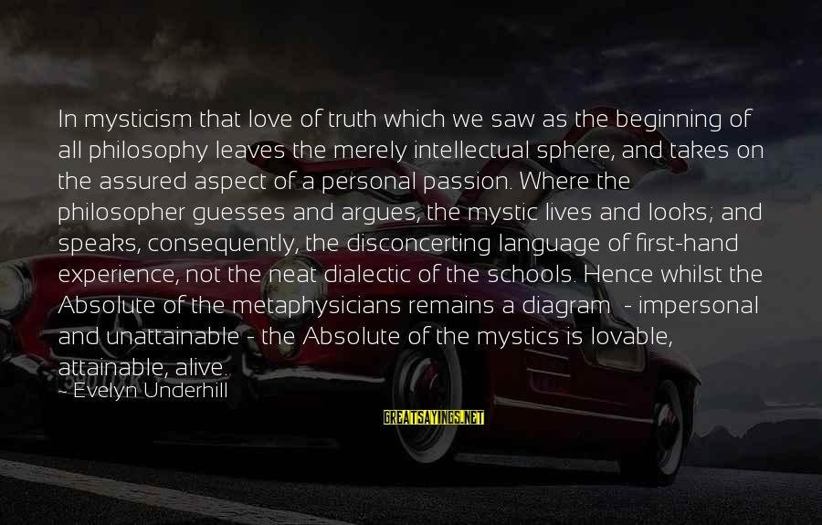 Mysticism Sayings By Evelyn Underhill: In mysticism that love of truth which we saw as the beginning of all philosophy
