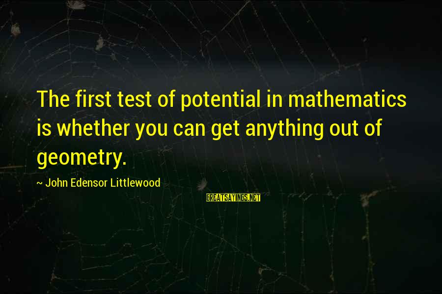 Nacija Sayings By John Edensor Littlewood: The first test of potential in mathematics is whether you can get anything out of