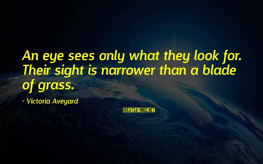 Narrower Sayings By Victoria Aveyard: An eye sees only what they look for. Their sight is narrower than a blade