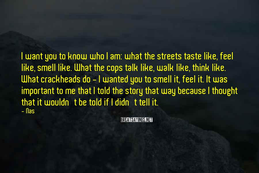 Nas Sayings: I want you to know who I am: what the streets taste like, feel like,