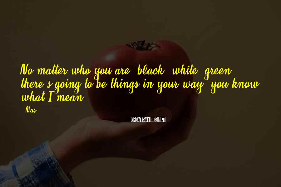 Nas Sayings: No matter who you are, black, white, green, there's going to be things in your