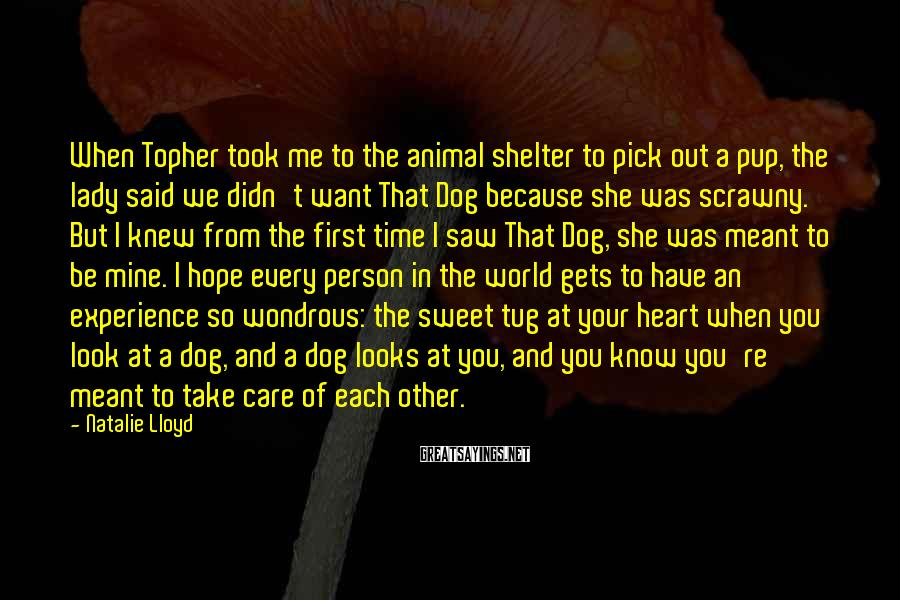 Natalie Lloyd Sayings: When Topher took me to the animal shelter to pick out a pup, the lady