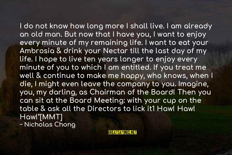 Nectar'd Sayings By Nicholas Chong: I do not know how long more I shall live. I am already an old