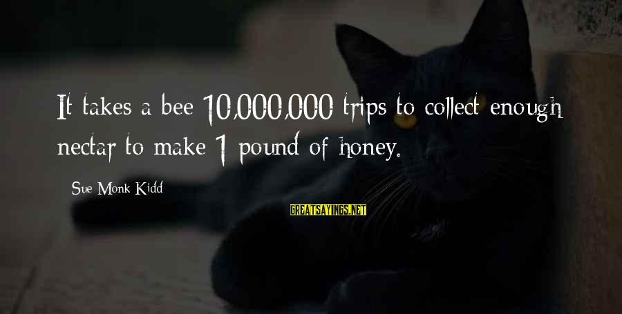 Nectar'd Sayings By Sue Monk Kidd: It takes a bee 10,000,000 trips to collect enough nectar to make 1 pound of