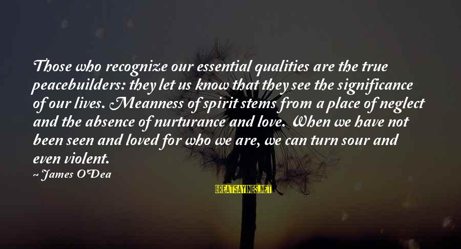 Neglect Your Love Sayings By James O'Dea: Those who recognize our essential qualities are the true peacebuilders: they let us know that