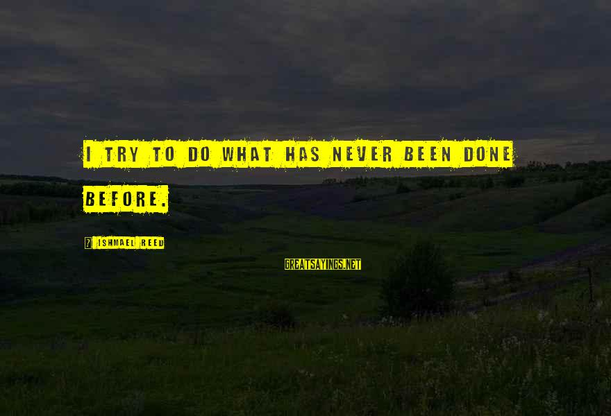 Never Been Sayings By Ishmael Reed: I try to do what has never been done before.