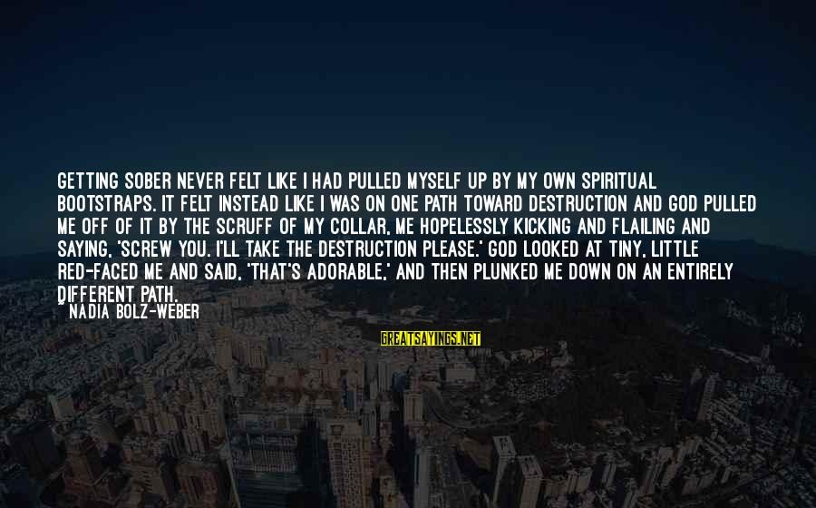 Never Getting Down Sayings By Nadia Bolz-Weber: Getting sober never felt like I had pulled myself up by my own spiritual bootstraps.