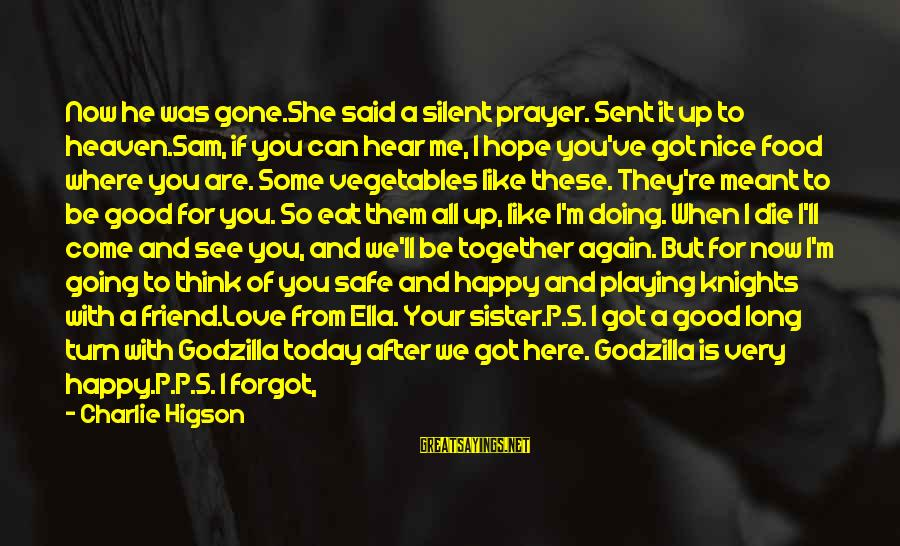 Never Meant To Be Sayings By Charlie Higson: Now he was gone.She said a silent prayer. Sent it up to heaven.Sam, if you