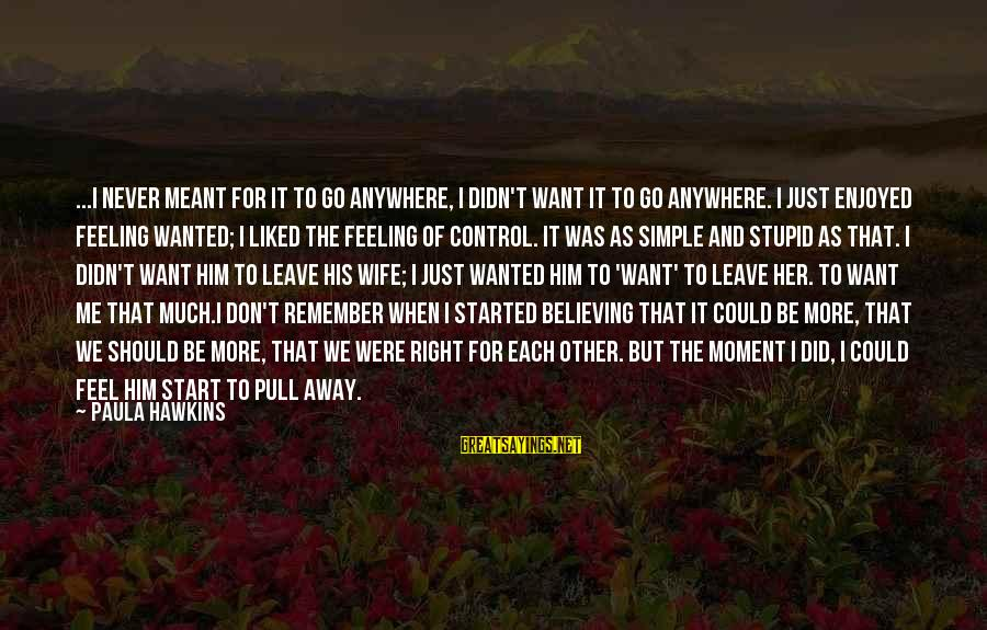 Never Meant To Be Sayings By Paula Hawkins: ...I never meant for it to go anywhere, I didn't want it to go anywhere.