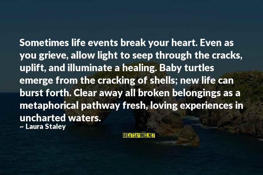 New Broken Heart Sayings By Laura Staley: Sometimes life events break your heart. Even as you grieve, allow light to seep through