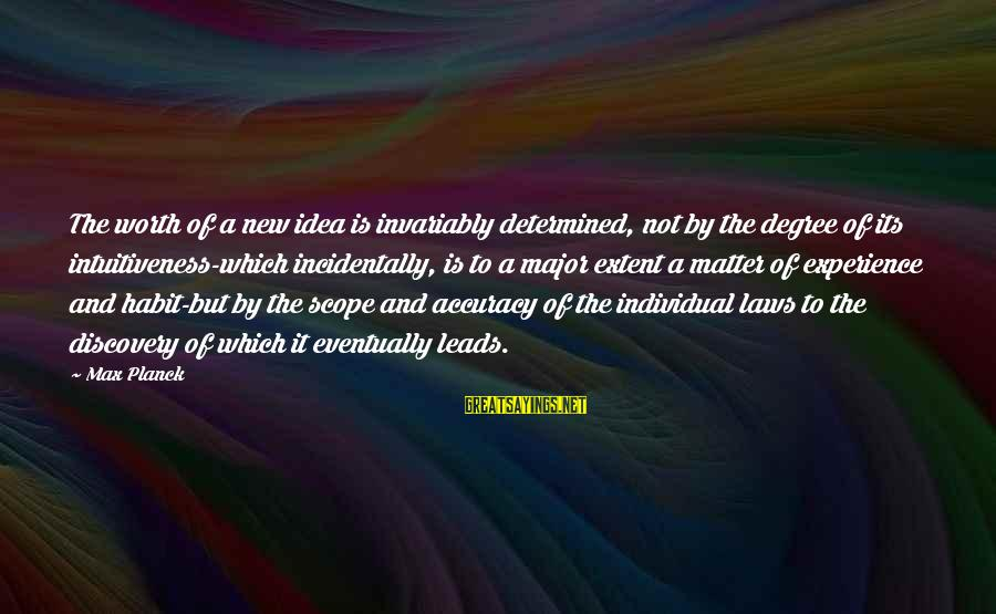 New Leads Sayings By Max Planck: The worth of a new idea is invariably determined, not by the degree of its
