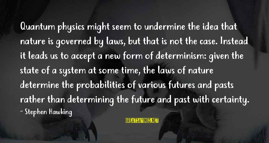New Leads Sayings By Stephen Hawking: Quantum physics might seem to undermine the idea that nature is governed by laws, but