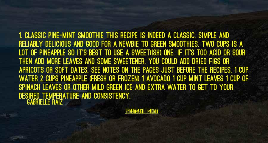 Newbie Sayings By Gabrielle Raiz: 1. Classic Pine-Mint Smoothie This recipe is indeed a classic. Simple and reliably delicious and