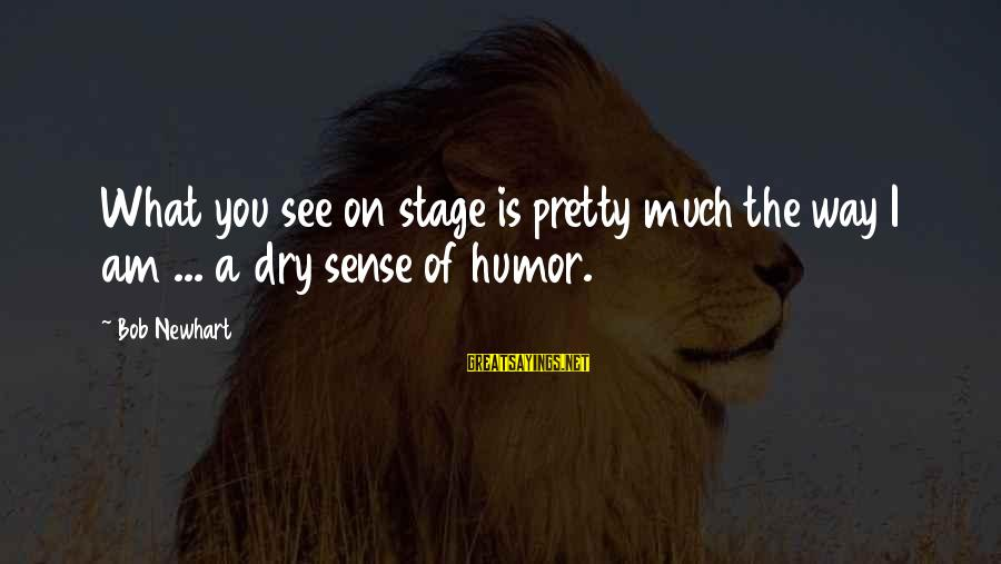 Newhart Sayings By Bob Newhart: What you see on stage is pretty much the way I am ... a dry