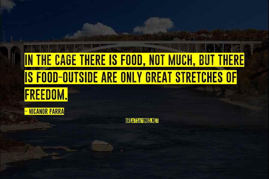 Nicanor Sayings By Nicanor Parra: In the cage there is food, not much, but there is food-outside are only great