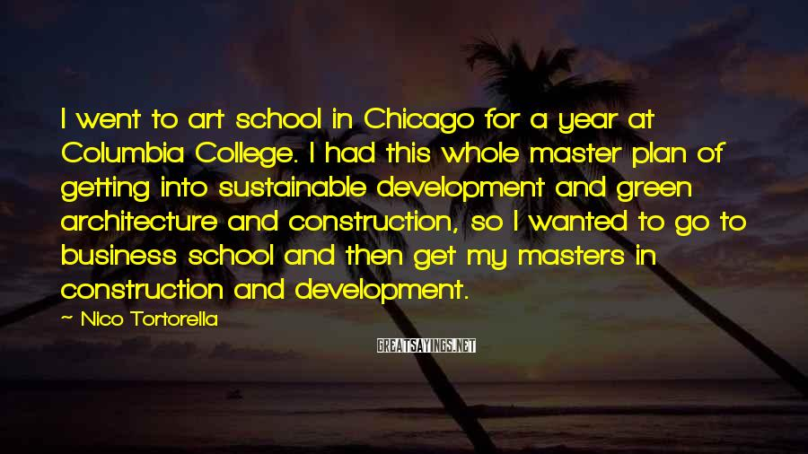 Nico Tortorella Sayings: I went to art school in Chicago for a year at Columbia College. I had