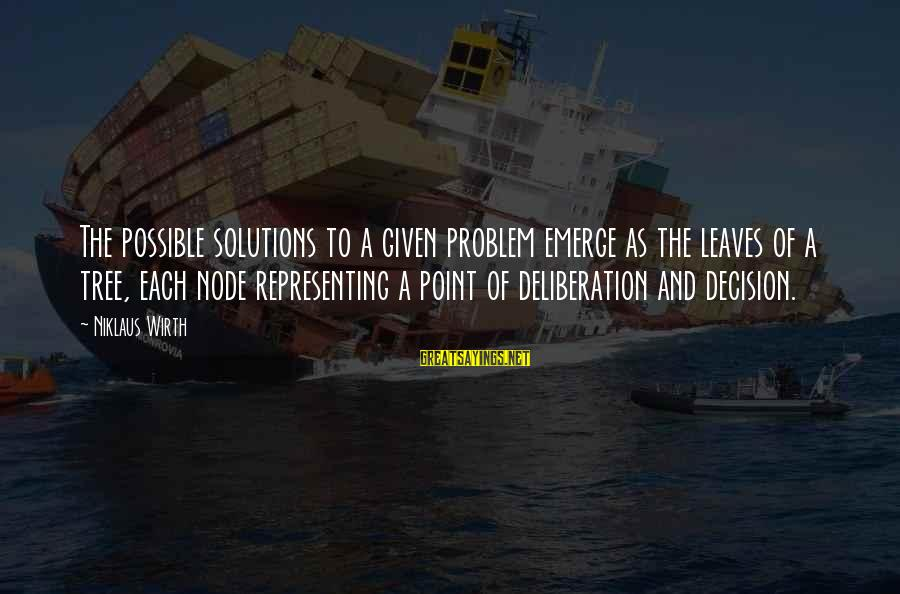 Niklaus Sayings By Niklaus Wirth: The possible solutions to a given problem emerge as the leaves of a tree, each