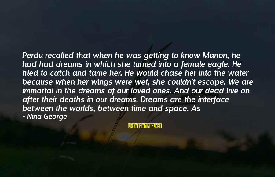 Nina Sayings By Nina George: Perdu recalled that when he was getting to know Manon, he had had dreams in