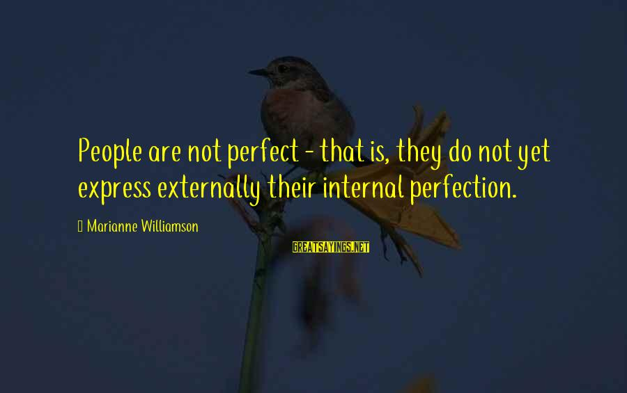 Nme Noel Gallagher Sayings By Marianne Williamson: People are not perfect - that is, they do not yet express externally their internal
