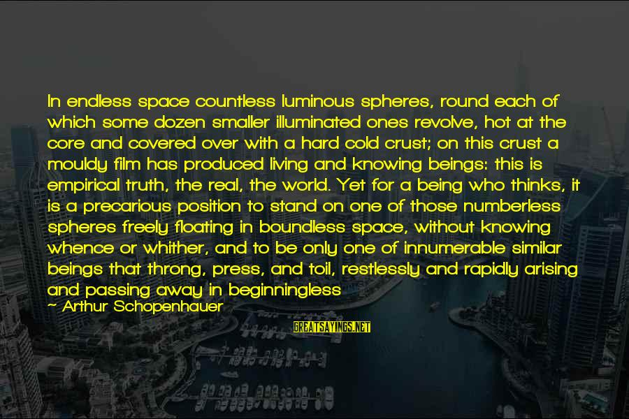No One Knowing The Real You Sayings By Arthur Schopenhauer: In endless space countless luminous spheres, round each of which some dozen smaller illuminated ones