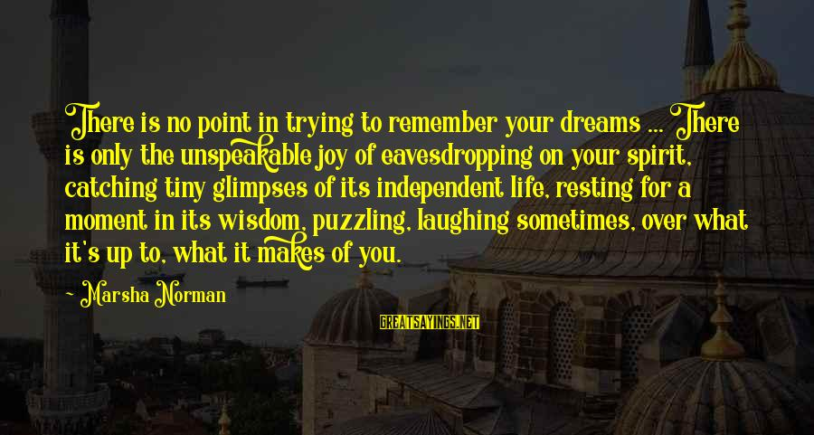 No Point Of Life Sayings By Marsha Norman: There is no point in trying to remember your dreams ... There is only the