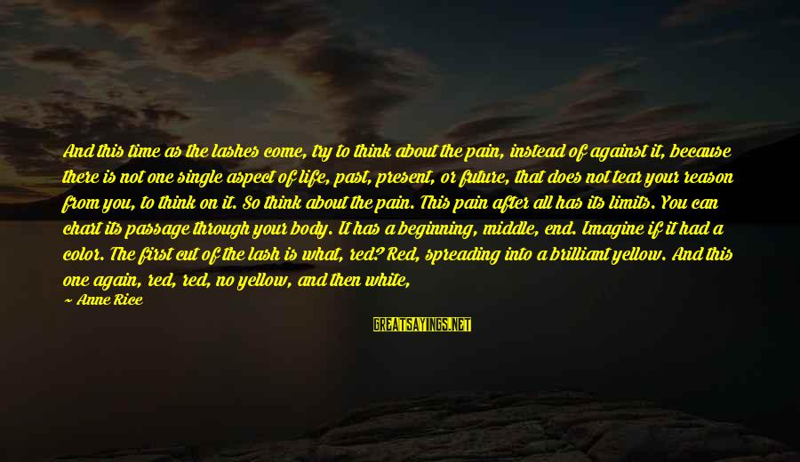 No Reason To Cry Sayings By Anne Rice: And this time as the lashes come, try to think about the pain, instead of