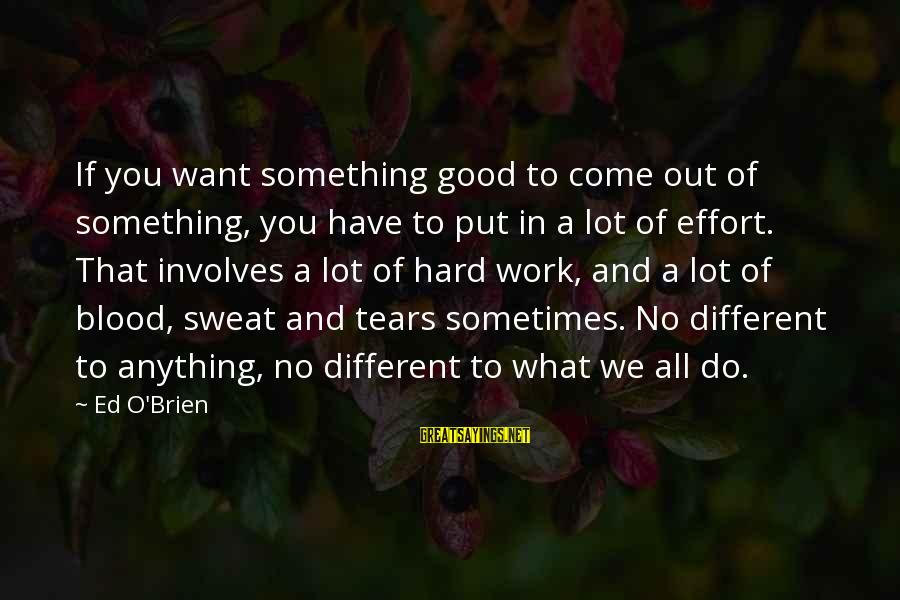 No Sweat Sayings By Ed O'Brien: If you want something good to come out of something, you have to put in