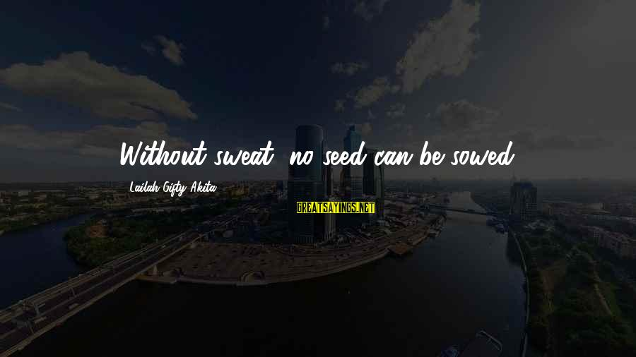 No Sweat Sayings By Lailah Gifty Akita: Without sweat, no seed can be sowed.