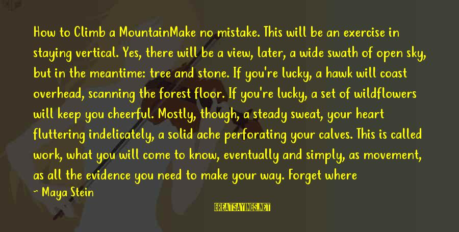 No Sweat Sayings By Maya Stein: How to Climb a MountainMake no mistake. This will be an exercise in staying vertical.
