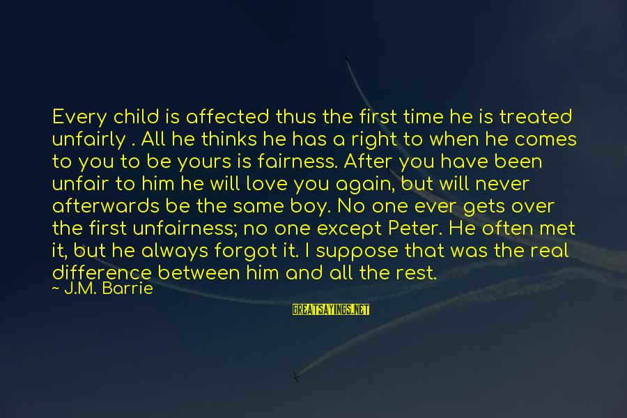 No Time To Rest Sayings By J.M. Barrie: Every child is affected thus the first time he is treated unfairly . All he