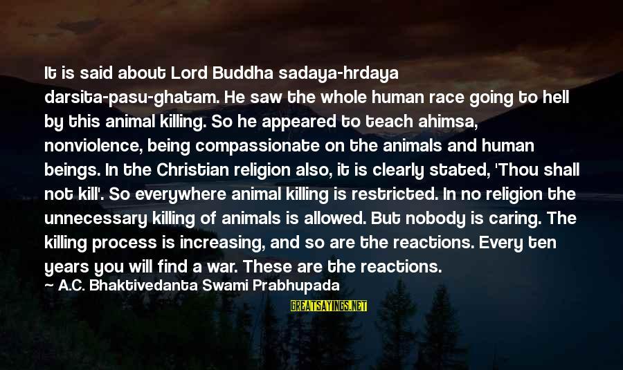 Nobody Caring Sayings By A.C. Bhaktivedanta Swami Prabhupada: It is said about Lord Buddha sadaya-hrdaya darsita-pasu-ghatam. He saw the whole human race going