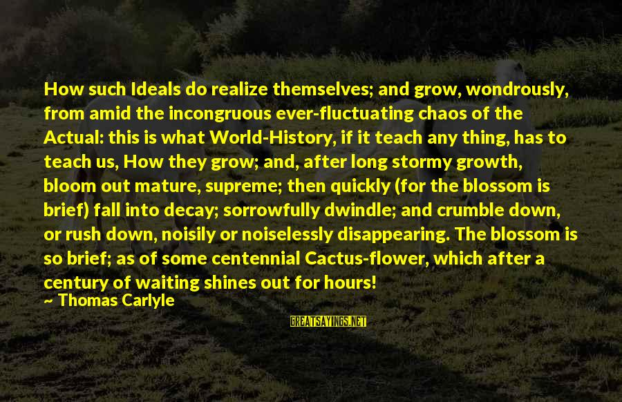 Noiselessly Sayings By Thomas Carlyle: How such Ideals do realize themselves; and grow, wondrously, from amid the incongruous ever-fluctuating chaos