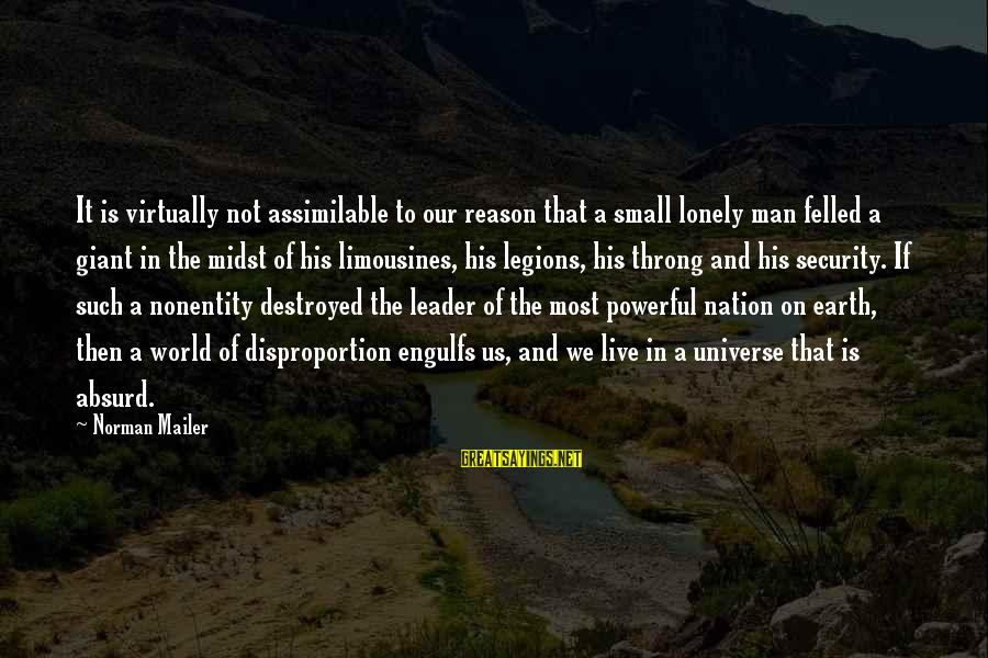 Nonentity Sayings By Norman Mailer: It is virtually not assimilable to our reason that a small lonely man felled a