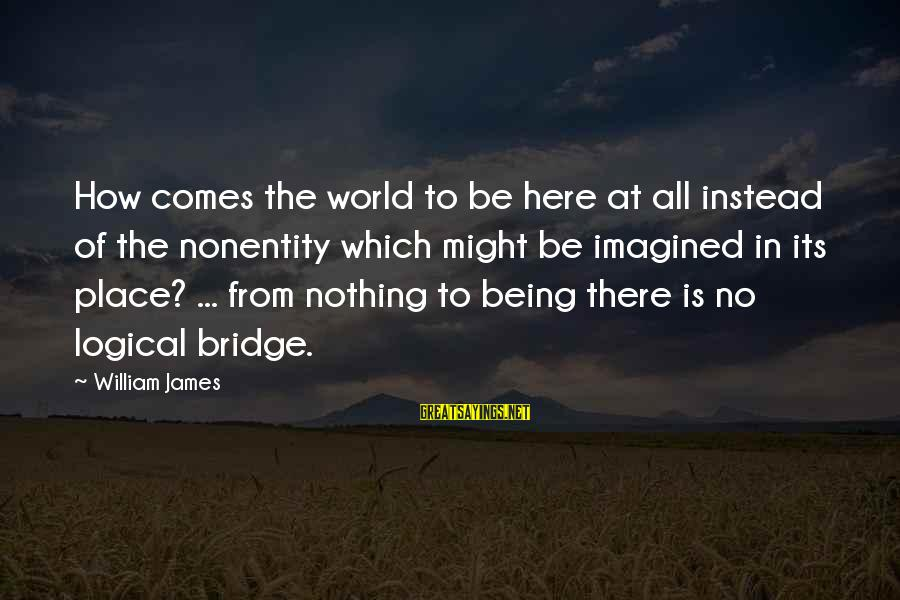 Nonentity Sayings By William James: How comes the world to be here at all instead of the nonentity which might