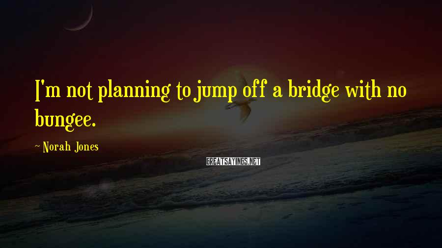 Norah Jones Sayings: I'm not planning to jump off a bridge with no bungee.