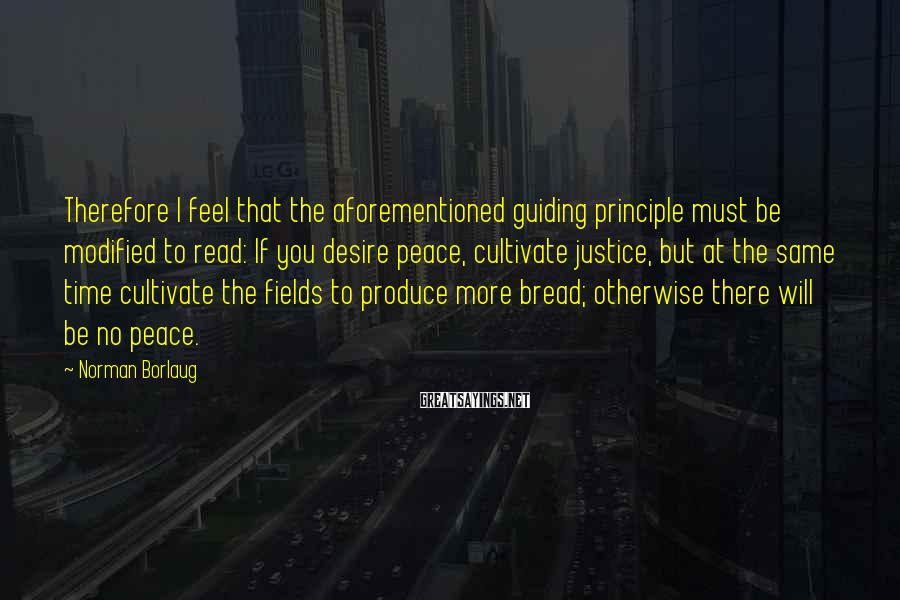 Norman Borlaug Sayings: Therefore I feel that the aforementioned guiding principle must be modified to read: If you