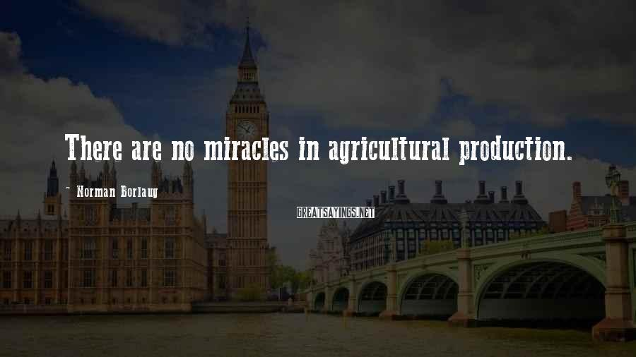 Norman Borlaug Sayings: There are no miracles in agricultural production.