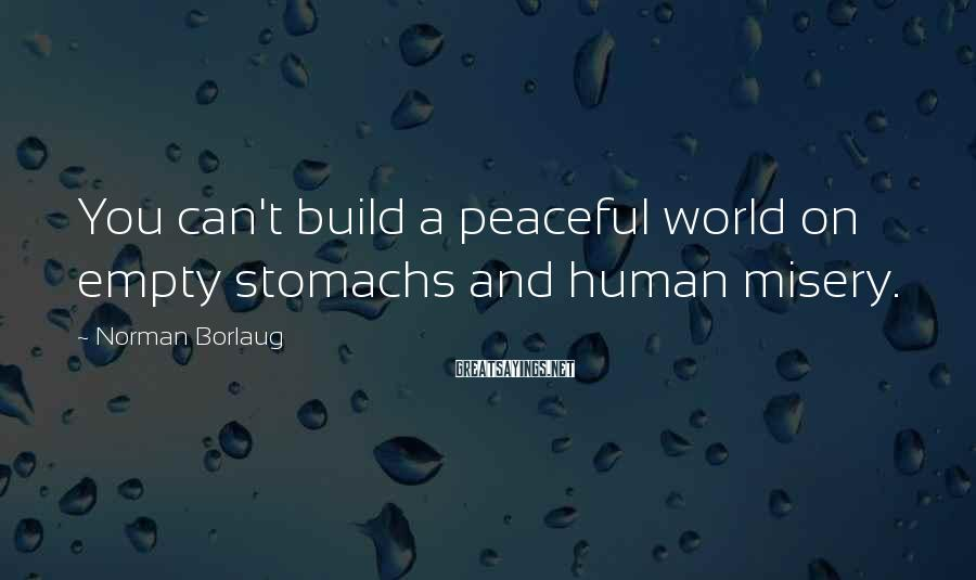 Norman Borlaug Sayings: You can't build a peaceful world on empty stomachs and human misery.