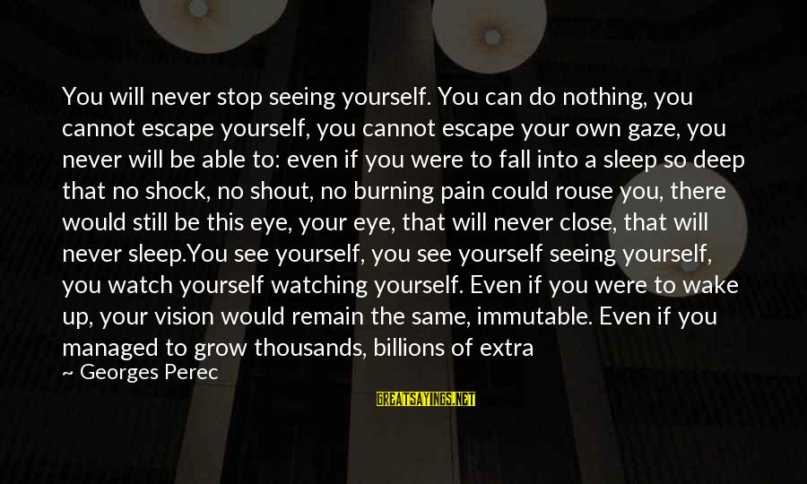 Not Able To Sleep Sayings By Georges Perec: You will never stop seeing yourself. You can do nothing, you cannot escape yourself, you