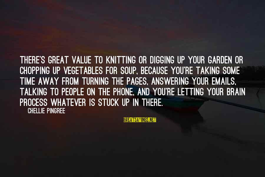 Not Answering The Phone Sayings By Chellie Pingree: There's great value to knitting or digging up your garden or chopping up vegetables for