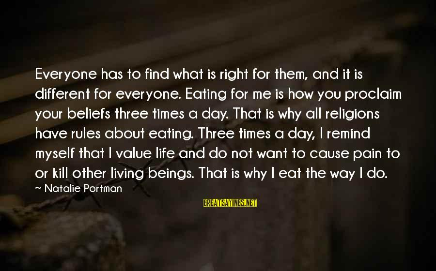 Not Living The Life You Want Sayings By Natalie Portman: Everyone has to find what is right for them, and it is different for everyone.