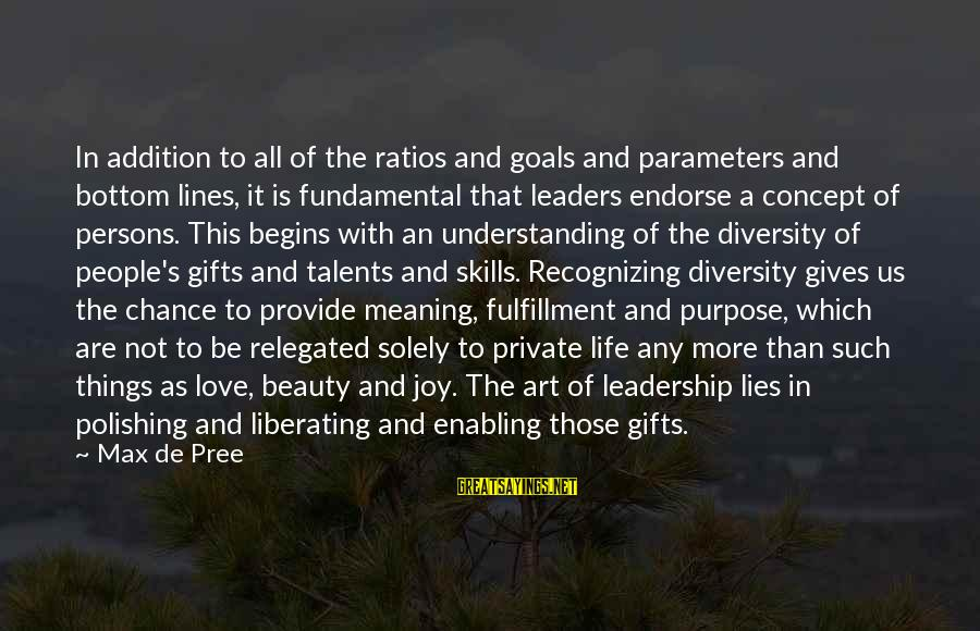 Not Recognizing Love Sayings By Max De Pree: In addition to all of the ratios and goals and parameters and bottom lines, it