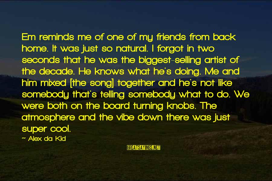 Not Telling Me What To Do Sayings By Alex Da Kid: Em reminds me of one of my friends from back home. It was just so