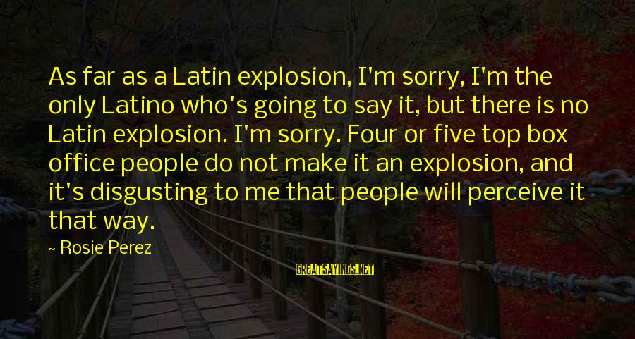 Not To Say Sorry Sayings By Rosie Perez: As far as a Latin explosion, I'm sorry, I'm the only Latino who's going to