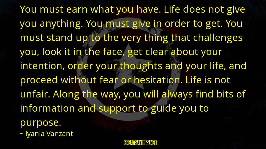 Not What You Have Sayings By Iyanla Vanzant: You must earn what you have. Life does not give you anything. You must give