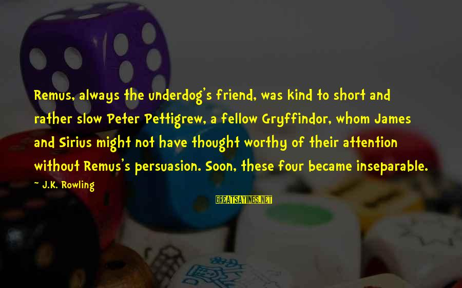 Not Worthy Friend Sayings By J.K. Rowling: Remus, always the underdog's friend, was kind to short and rather slow Peter Pettigrew, a