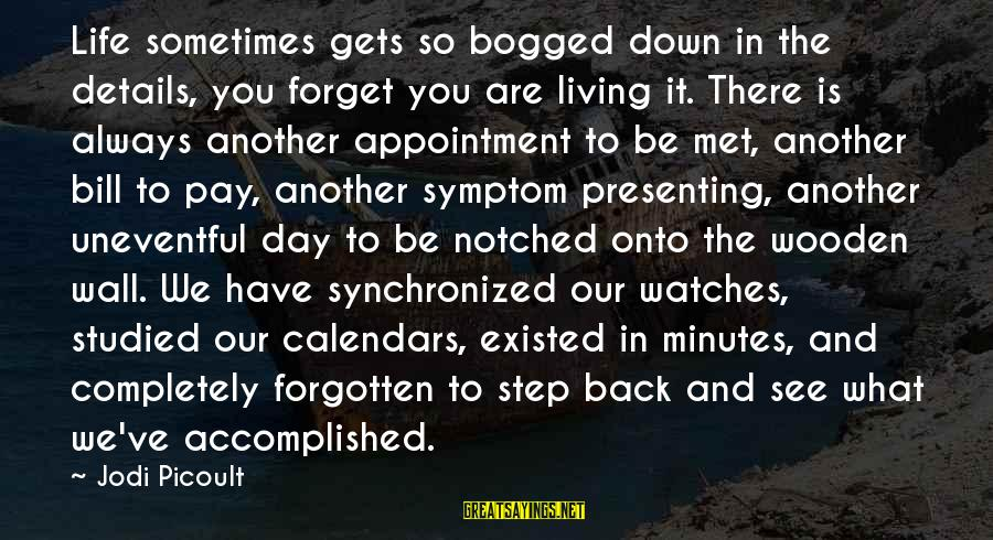 Notched Sayings By Jodi Picoult: Life sometimes gets so bogged down in the details, you forget you are living it.