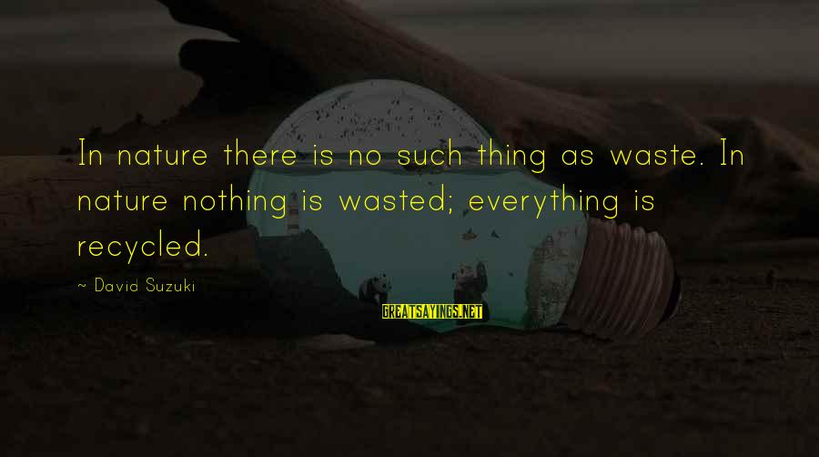 Nothing Is Ever Wasted Sayings By David Suzuki: In nature there is no such thing as waste. In nature nothing is wasted; everything