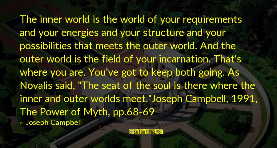 Novalis's Sayings By Joseph Campbell: The inner world is the world of your requirements and your energies and your structure