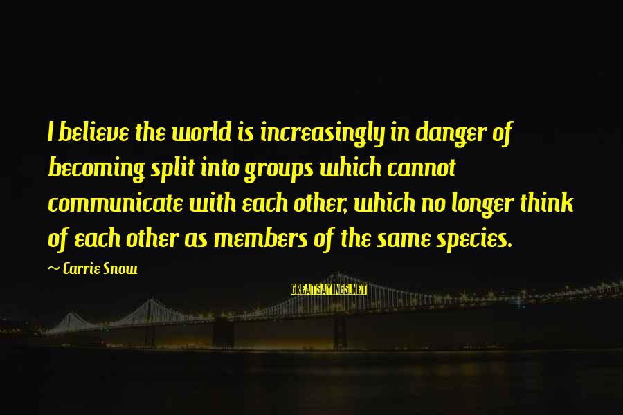 Ntunericul Sayings By Carrie Snow: I believe the world is increasingly in danger of becoming split into groups which cannot